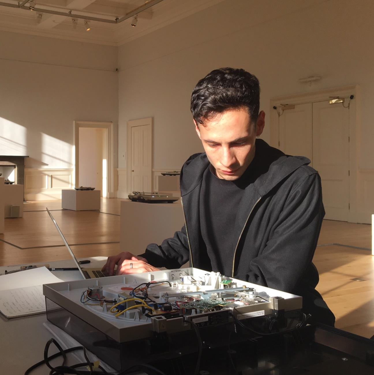 Brian Castriota documenting artist-modified turntables for an installation art work at the Scottish National Gallery of Modern Art