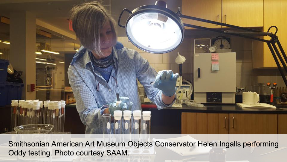 Smithsonian American Art Museum Objects Conservator Helen Ingalls performing Oddy testing. Photo courtesy SAAM.